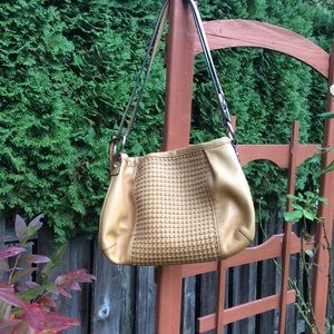 B Markowsky tan weave leather shoulder bag